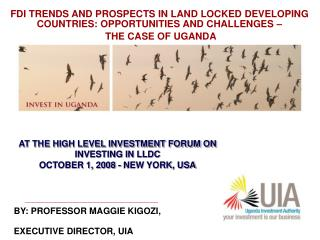 AT THE HIGH LEVEL INVESTMENT FORUM ON INVESTING IN LLDC OCTOBER 1, 2008 - NEW YORK, USA