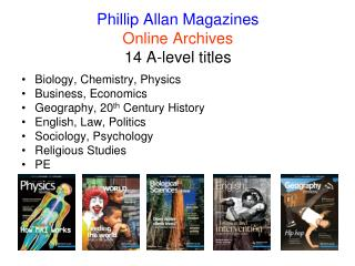 Phillip Allan Magazines Online Archives 14 A-level titles