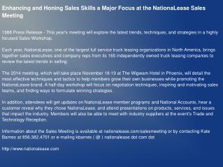 Enhancing and Honing Sales Skills a Major Focus