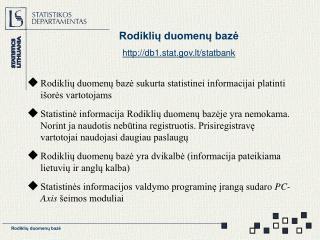 Rodiklių duomenų bazė db1.stat.lt/statbank