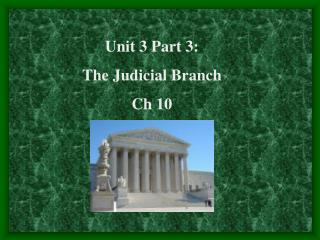 Unit 3 Part 3: The Judicial Branch Ch 10