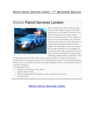 Mobile Patrol Services London - 1stnationwidesecurity.co.uk