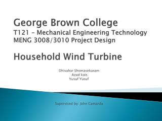 George Brown College  T121   Mechanical Engineering Technology MENG 3008