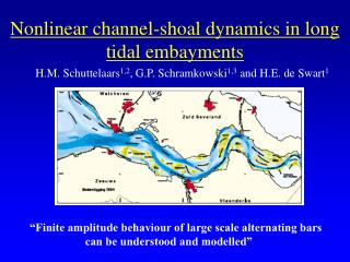 Nonlinear channel-shoal dynamics in long tidal embayments