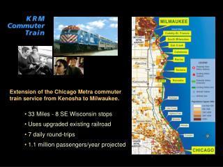 33 Miles - 8 SE Wisconsin stops   Uses upgraded existing railroad  7 daily round-trips