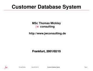 C u st o mer Database System