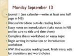 Monday September 13