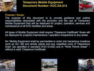 Temporary Mobile Equipment Document Number: KOC.SA.013