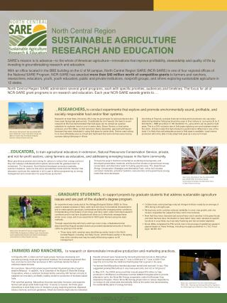 … FARMERS AND RANCHERS, to research or demonstrate innovative production and marketing practices.