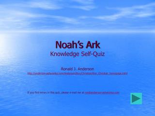 Noah's Ark Knowledge Self-Quiz