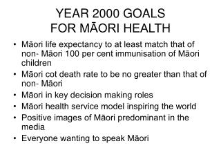 YEAR 2000 GOALS  FOR M?ORI HEALTH