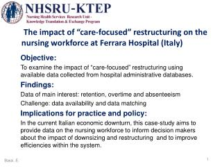 "The impact of ""care-focused"" restructuring on the nursing workforce at Ferrara Hospital (Italy)"
