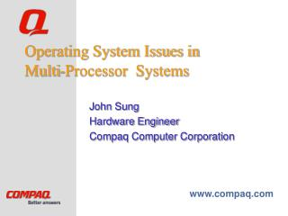 Operating System Issues in Multi-Processor  Systems