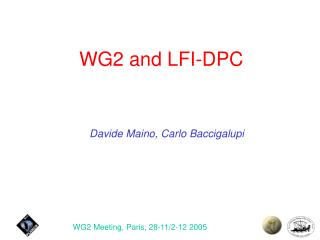 WG2 and LFI-DPC