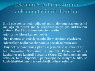 Leksioni 6: Administrimi i dokumentacionit shkollor