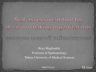 Self-assessment tool for decision making organizations