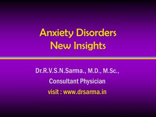 Anxiety Disorders   New Insights