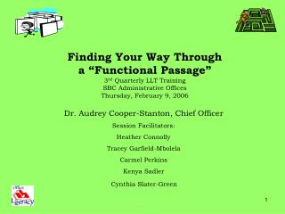 Dr. Audrey Cooper-Stanton, Chief Officer Session Facilitators:   Heather Connolly