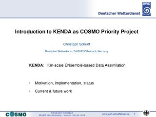 Introduction to KENDA as COSMO Priority Project