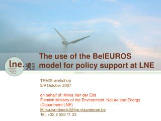 The use of the BelEUROS model for policy support at LNE