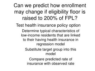 Can we predict how enrollment may change if eligibility floor is raised to 200% of FPL?