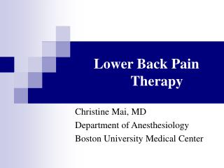 Lower Back Pain Therapy