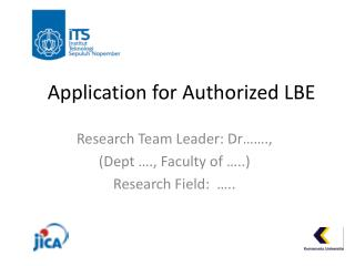 Application for Authorized LBE