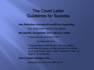 The Cover Letter Guidelines for Success