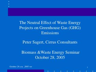 The Neutral Effect of Waste Energy Projects on Greenhouse Gas (GHG) Emissions