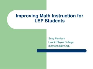 Improving Math Instruction for LEP Students