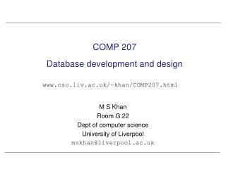 COMP 207 Database development and design
