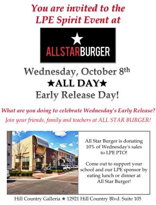 All Star Burger is donating 10% of Wednesday's sales  to LPE PTO!