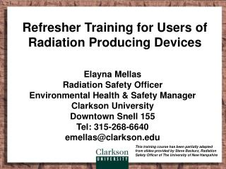 Refresher Training for Users of Radiation Producing Devices
