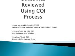 Client Behavioral Goal Setting: Outcomes Reviewed Using CQI Process