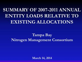 Summary of 2007-2011 annual entity loads relative to existing allocations