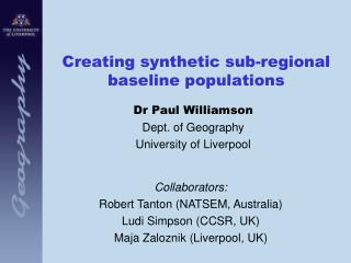 Creating synthetic sub-regional baseline populations
