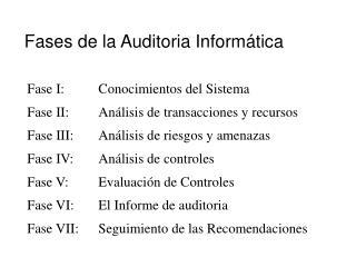 Fases de la Auditoria Inform�tica