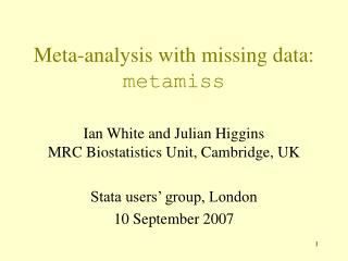Meta-analysis with missing data:  metamiss