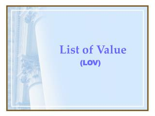 List of Value
