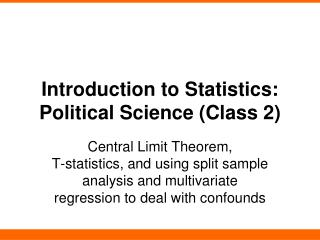 Introduction to Statistics: Political Science (Class 2)