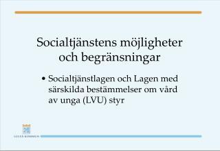 Socialtj�nstens m�jligheter och begr�nsningar