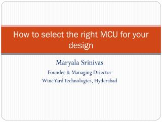 How to select the right MCU for your design