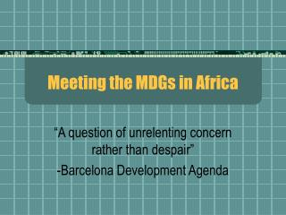Meeting the MDGs in Africa