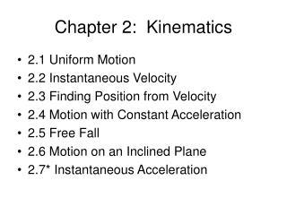 Chapter 2:  Kinematics