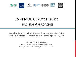 Joint MDB Climate Finance  Tracking Approaches