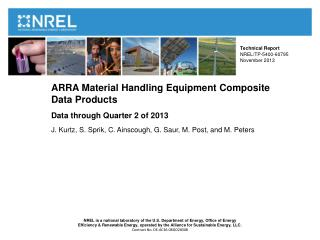 ARRA Material Handling Equipment Composite  Data Products Data through Quarter 2 of 2013