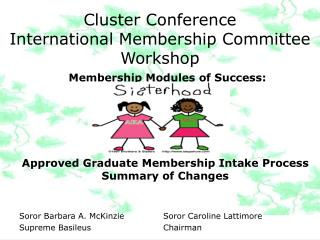 Cluster Conference International Membership Committee Workshop
