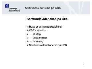 Samfundsvidenskab på CBS