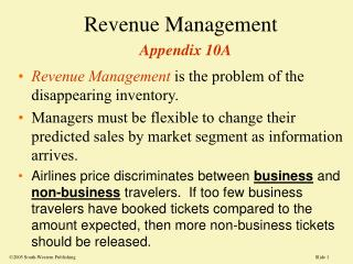 Revenue Management Appendix 10A