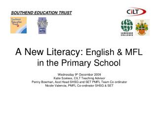 A New Literacy:  English & MFL in the Primary School